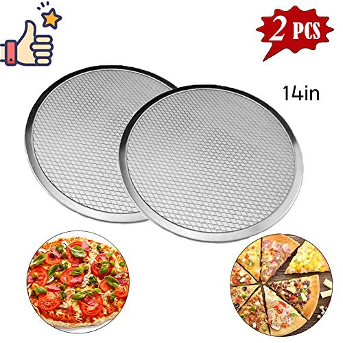 - Pizza Pans with Holes,Pizza Screen Aluminum Pizza Pan Round Non-Stick Tray Tool Chef's Baking ScreenSeamless-Rim Commercial Grade 12-20inches (14'')