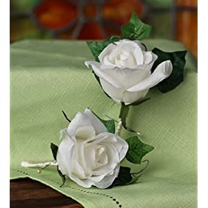 Soft Cream Silk Rose Premade Flower Boutonnieres or Corsages for Wedding, Party or Special Event - Set of 12 101