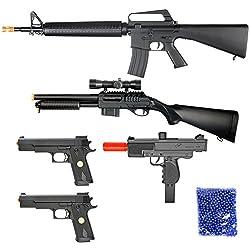 BBTac Airsoft Package - Lot of 5 Airsoft Guns Sniper Rifle Shotgun Machine Pistols & 1,000 6mm Bbs