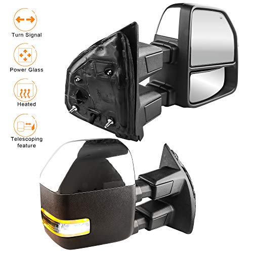 MOSTPLUS New Power Heated Chrome Housing Towing Mirrors for Ford F250 F350 F450 F550 Super Duty 2003 2004 2006 2007 w/Turn Signal,Clearance Light (Set of 2)