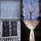 LIIDA Curtain Lights, LED Twinkle Lights 9.8 x 9.8ft Cool White Curtain Icicle Lights with 8 Modes Controller for Holiday, Party, Outdoor Wall, Wedding Decorations (White)