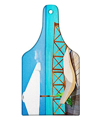 Lunarable Coastal Cutting Board, Parasol and Chaise Lounges and Deckchair on Terrace of Water Villa Maldives, Decorative Tempered Glass Cutting and Serving Board, Wine Bottle Shape, Aqua White (Original White Outdoor Chaise Lounge)