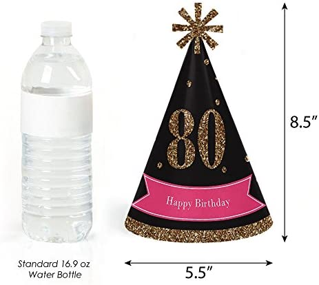 Chic 80th Birthday - Pink, Black and Gold - Cone Happy Birthday Party Hats for Kids and Adults - Set of 8 (Standard Size)
