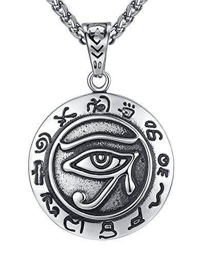 Aoiy Men's Stainless Steel Ancient Egypt Eye Pendant Necklace, 61cm Link...