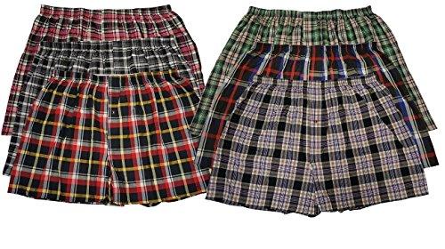 6 Men's Big & Tall USA Classic Design Plaid Boxer Shorts Underwear (3XL)