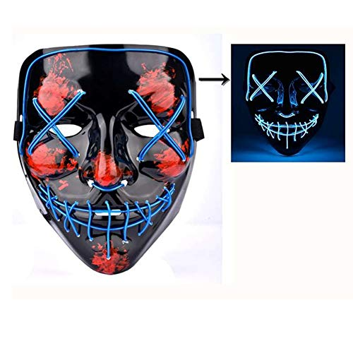 Sunny Hill Wired LED Light up Mask Halloween Mask Cosplay for Festival Party Costumes (Blue)