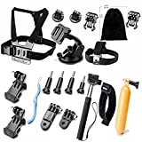OFKP® Accessories Bundle Kit Black Silver Accessory Kit for GoPro 4 3+ 3 2 1 and SJ4000 SJ5000 SJ6000, Sports Camera Accessory Set in Parachuting Swimming Rowing Surfing Skiing Climbing Running Bike Riding Camping Diving Outing Any Other Outdoors Sports