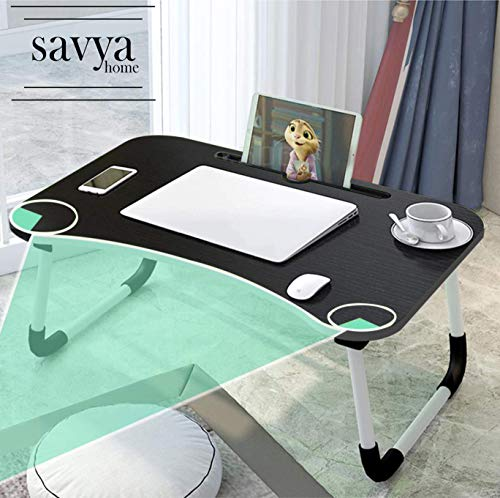 Savya home® Multi-Purpose Laptop Table with Drawer/Bed Table/Wooden Foldable Bed Table/LAPDESK/Study Table/Portable Table (Black and Silver Stripes)