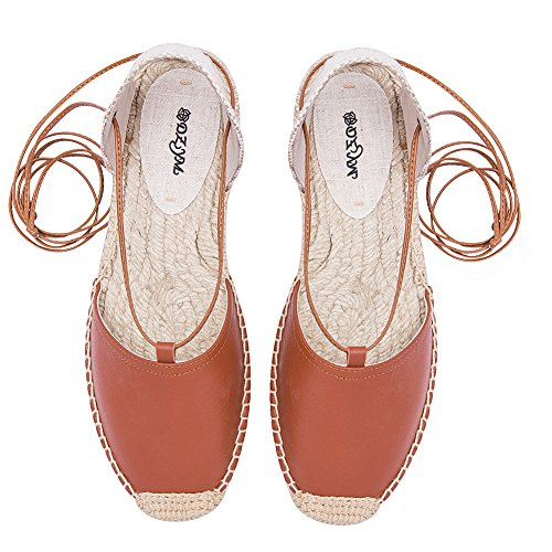 rismart Women's Platform Slingback Closed Toe Casual Outdoor Leather Sandals Shoes Brown yTS653n5F3