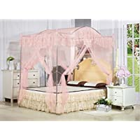KingKara Light Pink Arched 4 Corner Square Princess Bed Canopy Mosquito Netting (Full/Queen)