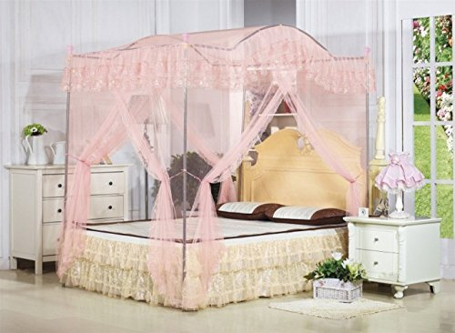 KingKara Light Pink Arched 4 Corner Square Princess Bed Canopy Netting (Full/Queen)