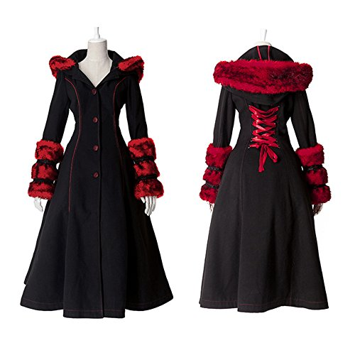 Gothic Lolita Style Woolen Fur Coat Steampunk Autumn Winter Fashion Long Sleeve Hooded Long Jackets (L, Black) by Punk (Image #7)