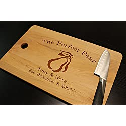 "Personalized The Perfect Pear Cutting Board for Wedding Anniversary Couples Housewarming Kitchen Decor Gift Beech or Bamboo Wood 17"" x 11"""
