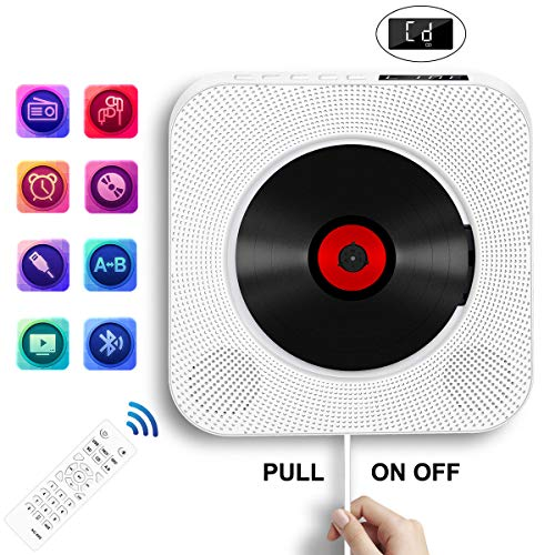 Portable CD Player with Bluetooth, Wall Mountable CD Music Player Home Audio Boombox with Remote Control FM Radio Built-in HiFi Speakers, MP3 Headphone Jack AUX Input Output, White (Player Bluetooth Portable Cd)