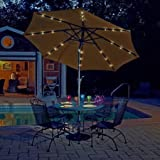 Mirage Fiesta 9' Market Umbrella with Solar LED Terra Cotta