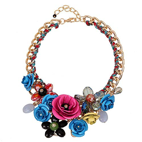 Cyan Flower Statement Necklaces Necklace product image