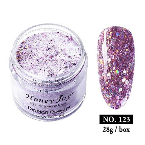 28g/Box Pink Shine Glitter Hexagon Sequins Paillette Dip Powder Nails Dipping Nails Long-lasting Nails No UV Light Needed, (No.123)