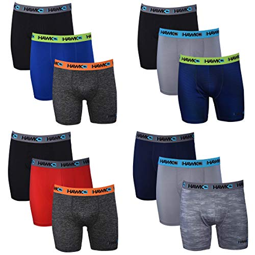 Tony Hawk Mens Performance Boxer Briefs - 12-Pack Athletic Fit No Fly Breathable Tagless Underwear