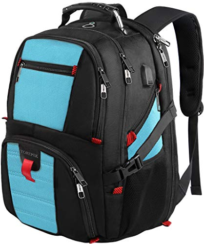 Extra Large Backpack, Durable Lightweight Travel Laptop Bag with Computer Compartment and Usb Charging Port/Headphone Hole,TSA Friendly Business Backpacks for Men & Women Hold 17 inch Laptops,Blue