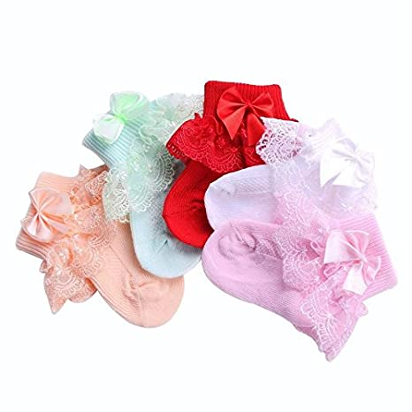 Size 0- 6 Month 5 Pairs Frilly Lace Baby Socks For Newborn Girls Solid Color