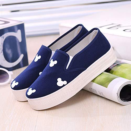 Hasag Zapatos Deportivos Zapatos de Plataforma Zapatos de Mujer Zapatos de Lona para Estudiantes Blue