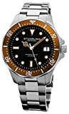 Stuhrling Original Men's 824.04 Aquadiver Date Orange Bezel Stainless Steel Diver Watch