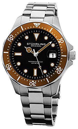 Stuhrling Original Men's 824.04 Aquadiver Date Orange Bezel Stainless Steel Diver Watch by Stuhrling Original