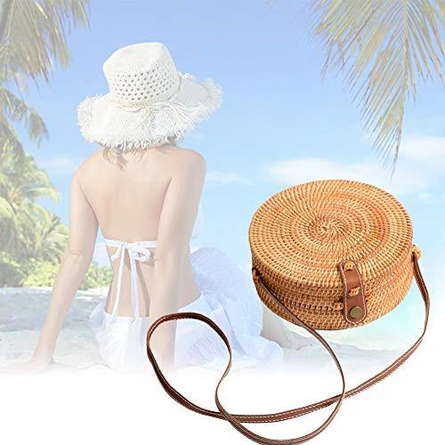verano mano redondo de para bolsa playa retro Bolso blanco paja ratán a estilo de de tejido Marrón Crossbody Raffia OBAqO1Yw