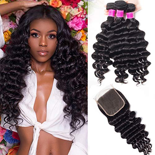 RECOOL Brazilian Hair Loose Deep Wave Bundles with Closure 10A Ocean Wave Virgin Human Hair Extensions Natural Color Real Good Quality Curly Hair for Black Women (14 16 18+12)