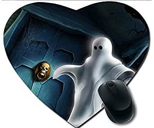 Hot Heart-Shaped Comfortable Mouse Pad - Customizable Printed On Halloween Pumpkins And Ghost House Durable Cool Game Mouse Pad