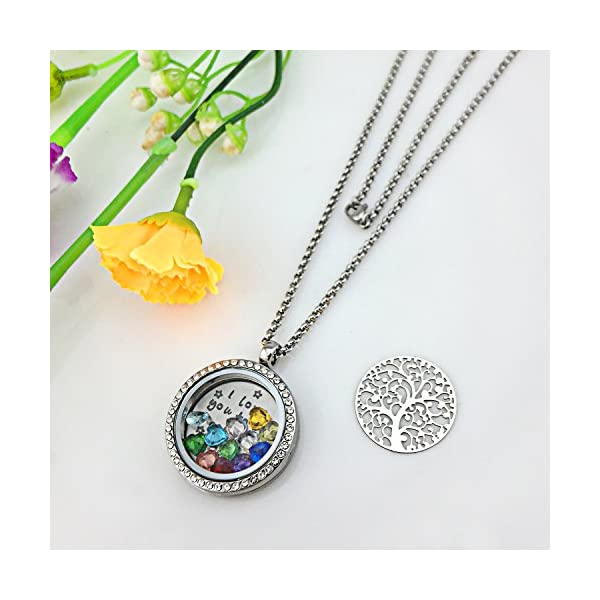 XingYue Jewelry Family Tree Floating Charm Locket Love You to The Moon and Back Birthstones Necklace
