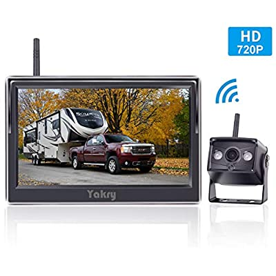 Yakry HD 720P Digital Wireless Backup Camera and 5'' Monitor Kit for Trailers/RVs/Pickups/Vans/Trucks/Motorhomes Rear View/Front View Camera IP69 Waterproof Guide Lines ON/Off: Car Electronics