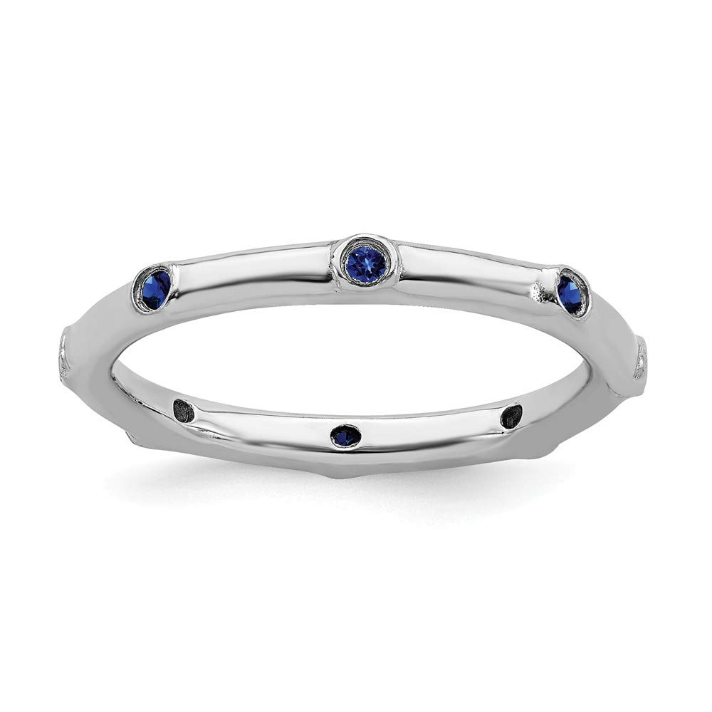 925 Sterling Silver Created Sapphire Band Ring Size 8.00 Stone Stackable Gemstone Birthstone September Fine Jewelry Gifts For Women For Her