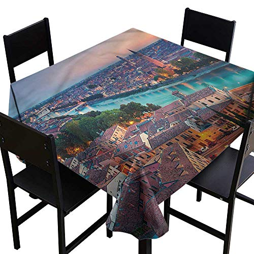 (home1love European Washable Square Tablecloth Verona Italy Blue Hour Resistant/Spill-Proof/Waterproof Table Cover 54 x 54 Inch)
