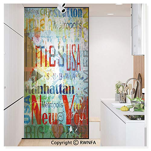RWN Film Decorative Window Films Kitchen Glass Sticker Grunge Collage of Words American Culture Country Metropolis Modern Urban Decor Waterproof Anti-UV for Home and Office 11.8