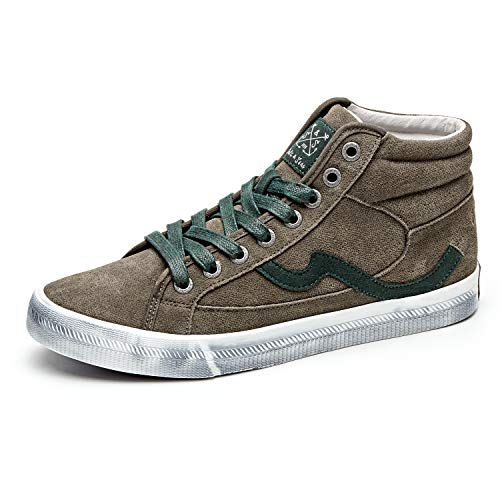 (Men Adults Fashion Sneakers High Top Lace Up Casual Shoes Green Distressed)