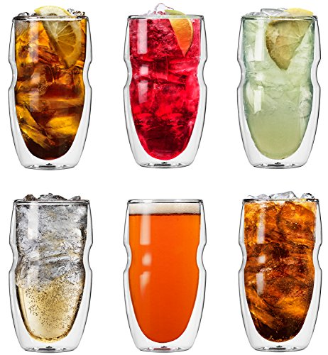 (Ozeri Serafino Double Wall Insulated Iced Tea and Coffee Glasses, 16-Ounce, Set of 6)
