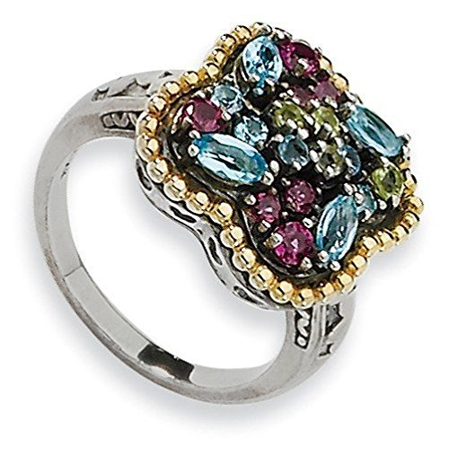 Tw Multi Gemstone Ring (Sterling Silver With 14k 1.59tw Multi Gemstone Ring - Size 8)