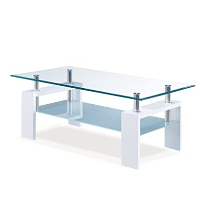 Amazon Com Global Furniture Clear Frosted Occasional Coffee Table