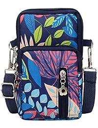 Women Men Nylon Shoulder Bag Multicolor Floral Prints Students School Outdoor Sports Arm Phone Bag Waist Bag