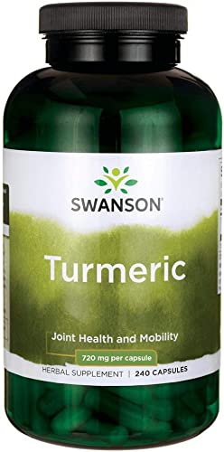 Swanson Turmeric Antioxidant, Joint Health, Cardiovascular, Liver Detox, Mood and Memory Support Supplement Curcuma Longa Rhizome 720 mg, 240 Capsules, 120 Servings, 1.44 Grams per Serving