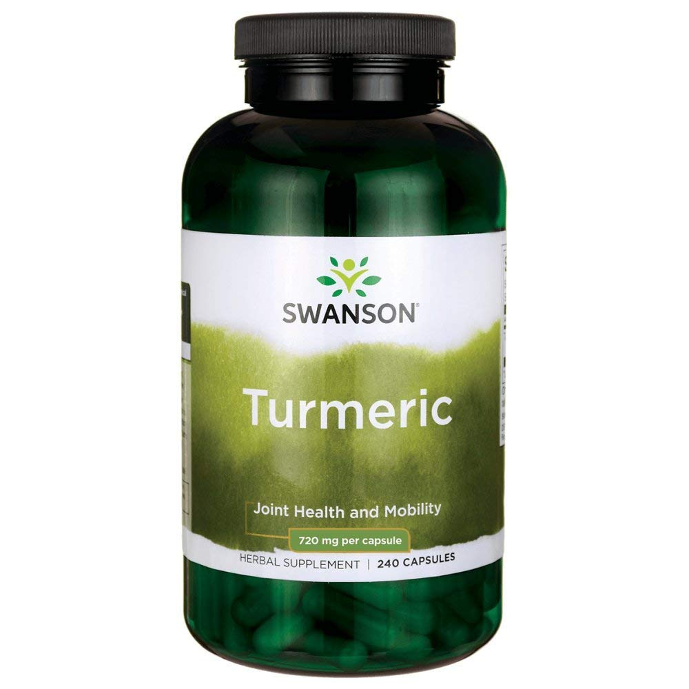 Swanson Turmeric Antioxidant, Joint Health, Cardiovascular, Liver Detox, Mood and Memory Support Supplement Curcuma Longa (Rhizome) 720 mg, 240 Capsules, 120 Servings, 1.44 Grams per Serving