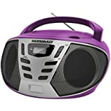 KORAMZI Sports Portable CD Boombox AM/FM Radio, AUX IN, Top Loading CD Player, Telescopic Antenna, LCD Display for Indoor & Outdoor, Offices, Home, Picnics, School, Camping (Purple/Silver) CD55-PLS