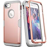 YOUMAKER Case for iPhone 8 & iPhone 7, Full Body Rugged with Built-in Screen Protector Heavy Duty Protection Slim Fit Shockproof Cover for Apple iPhone 8 (2017) 4.7 Inch - Rose Gold/Gray