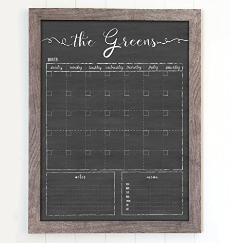 Wall Calendar, Dry Erase Calendar, 18x24 Customized Dry Erase Wall Calendar, Chalkboard Calendar, Family Framed Calendar, 2018 calendar organizer, Command Center, Dry Erase Board