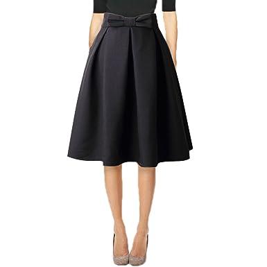 Hanlolo Ladies 1950s Vintage Skirts Women High Waisted Office Skirts Midi  Black 2988b7fd2