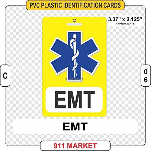EMT PVC ID Tag Emergency Medical Service Plastic Identification Badge - C 06