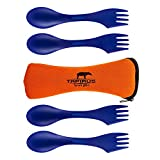 Tapirus 4 Blue Spork To Go Set   Durable & BPA Free Tritan Sporks   Spoon, Fork & Knife Combo Utensils Flatware   Mess Kit For Camping, Fishing, Hunting & Outdoor Activities   Comes In A Carrying Case