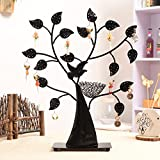 Retro metal jewelry organizer jewelry tree necklace holder bracelet stand jewelry stand display tower tree rack ring tray stand-Black and red