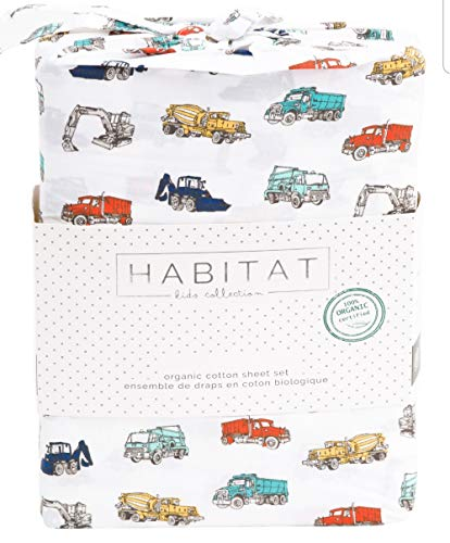 Habitat Kids Twin Sheet Set Trucks Construction Red White Gray 3 Piece Set Cotton Boys Sheets Bedding